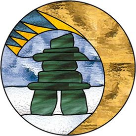 Stained Glass Patterns :: Inukshuk with Abstract Earth Moon Sun :: Inukshuks