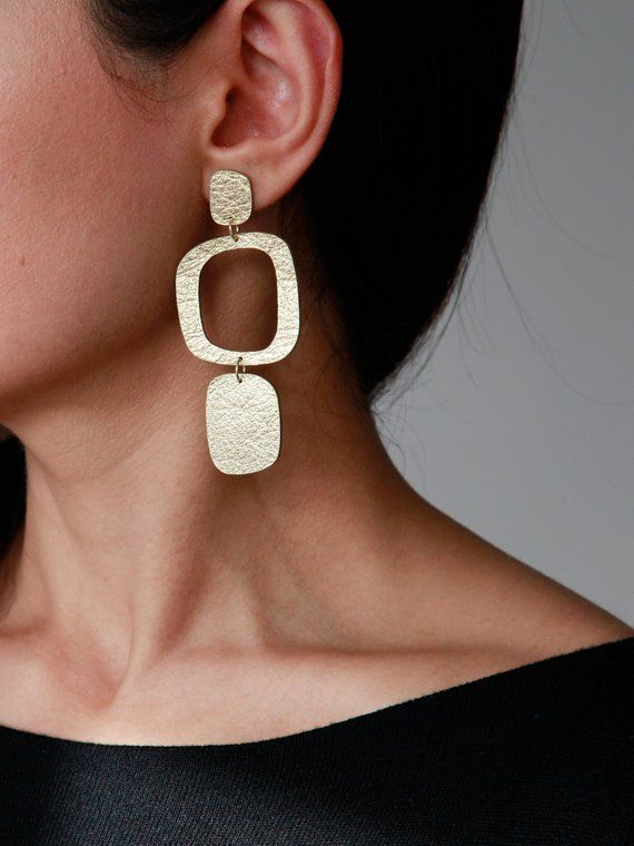 Red Copper Silver Minimalist Jewelry Drop Earrings Retro Dangle Earrings