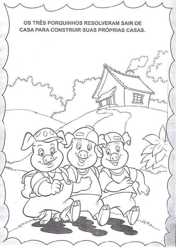 A História dos Três Porquinhos e atividades para colorir