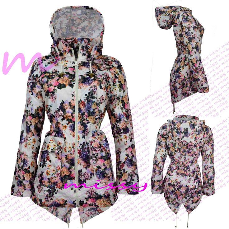 Plus Size Rain Mac Ladies Parka Womens Fishtail Festival Raincoats Size 8-24