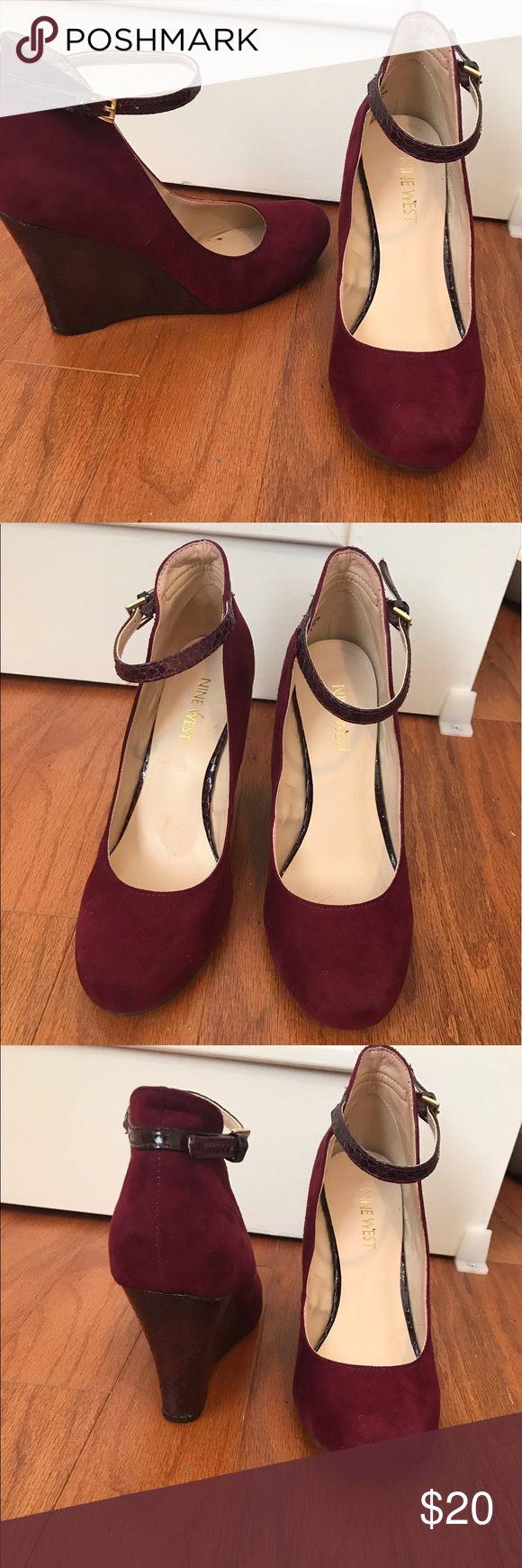 Burgandy Wedge Heels Burgandy suede and detailed wedge heels Nine West Shoes