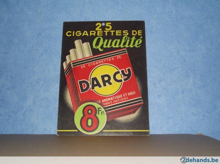 Ancienne publicité en carton : Cigarettes DARCY . A venir chercher à 4260 Avennes . Envoi possible au tarif Bpost 24h00 uniquement . Payement de main...