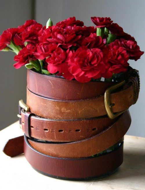 DIY flower vase - great use for old stirrup leathers or belts