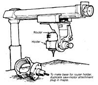 Pin-Router Adaptation for Radial-Arm Saw