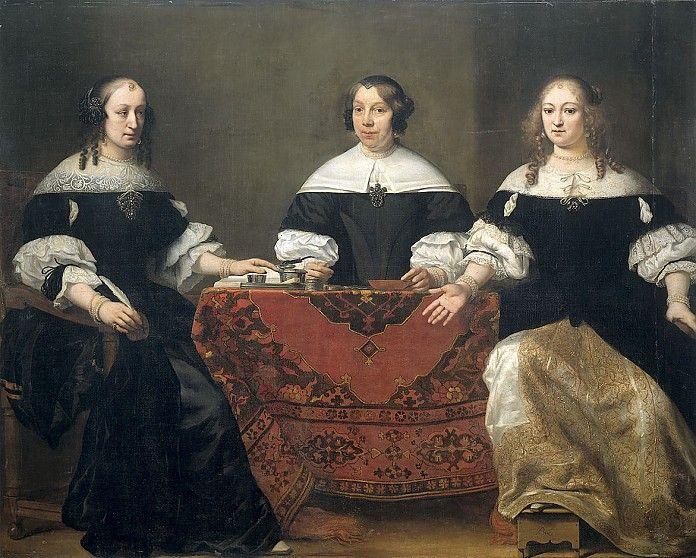 Ferdinand Bol, Portretten van drie regentessen van het leprozenhuis in Amsterdam, 1668, olieverf op doek, 170 x 208 cm, Rijksmuseum Amsterdam