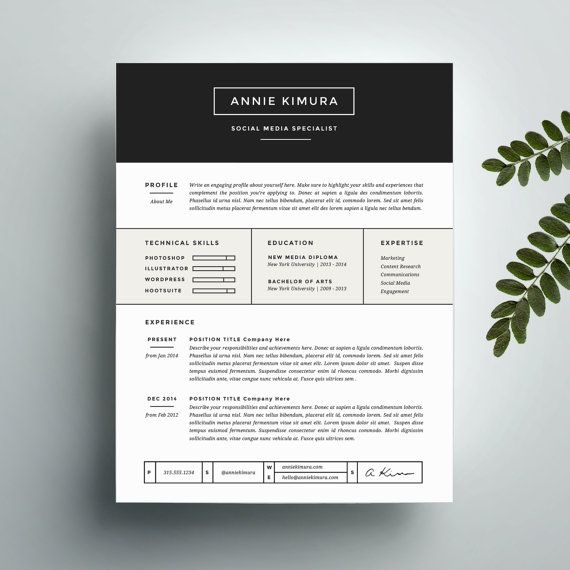 Creative Resume Template And Cover Letter Template For Word | Instant  Digital Download | The Annie