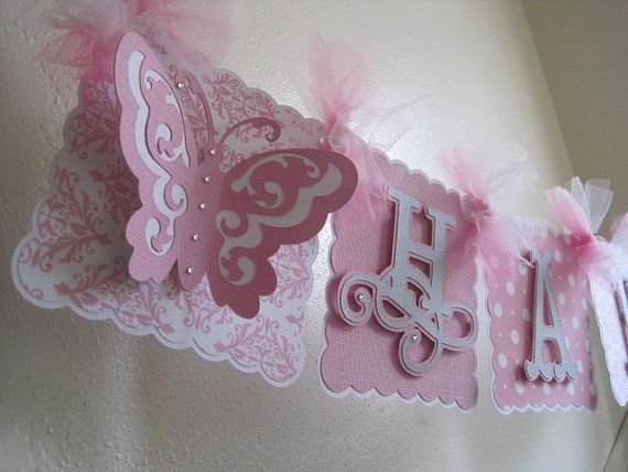 Butterfly Happy Birthday Banner....1st Birthday banner...Princess Birthday Banner...Happy Birthday Banner... 7.5 Feet