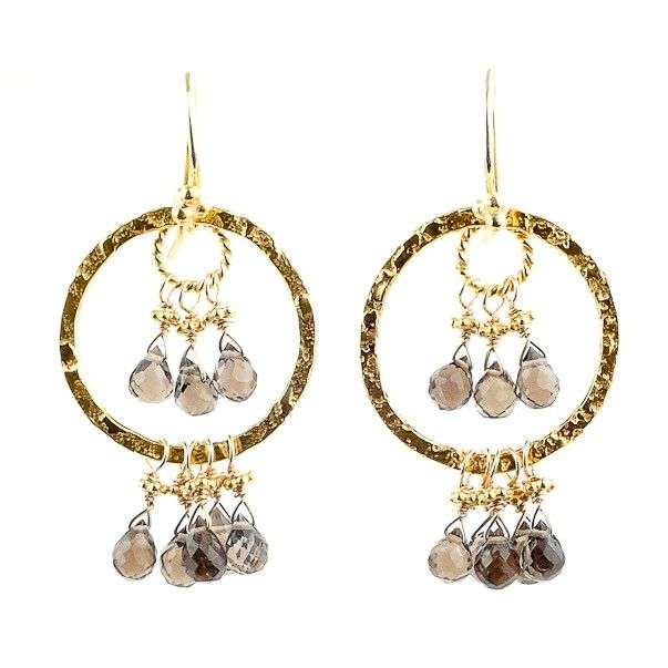 Delicately faceted smoky quartz takes the spotlight in these spectacular chandelier earrings featuring our signature hammered 22k gold vermeil detailing and a swinging silhouette. Pair these beauties with bare shoulders or a creative neckline and add some instant rich drama to your look! - Robindira Unsworth