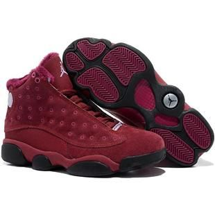 Cheap Inside with fluff Burgundy Black Air Jordan 13 (XIII) Sports Shoes  Store
