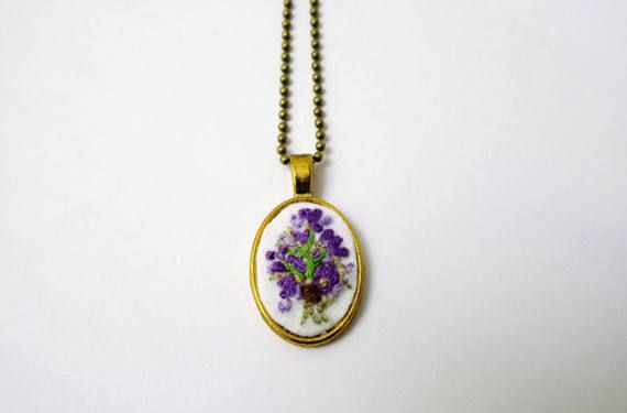 Violet necklace flower plant embroidered pendant antique gold oval small gift bridesmaids wedding  flower art hand embroidery crewel jewelry