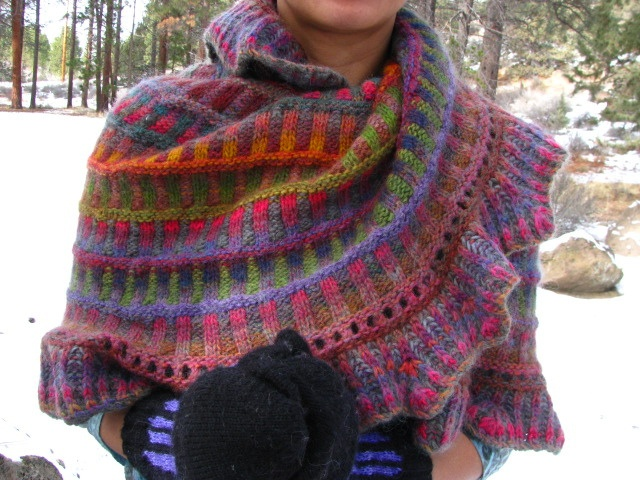 Knitted Mobius wrap.