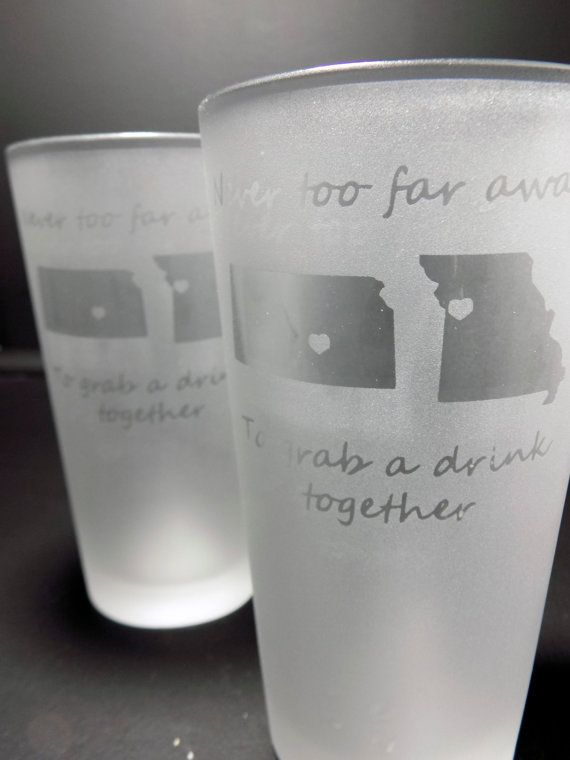 Set of Two Best Friends Pint Glass - Long Distance Pint Glass - Long Distance Friend Gift - Long Distance Gift - Best Friend Gift