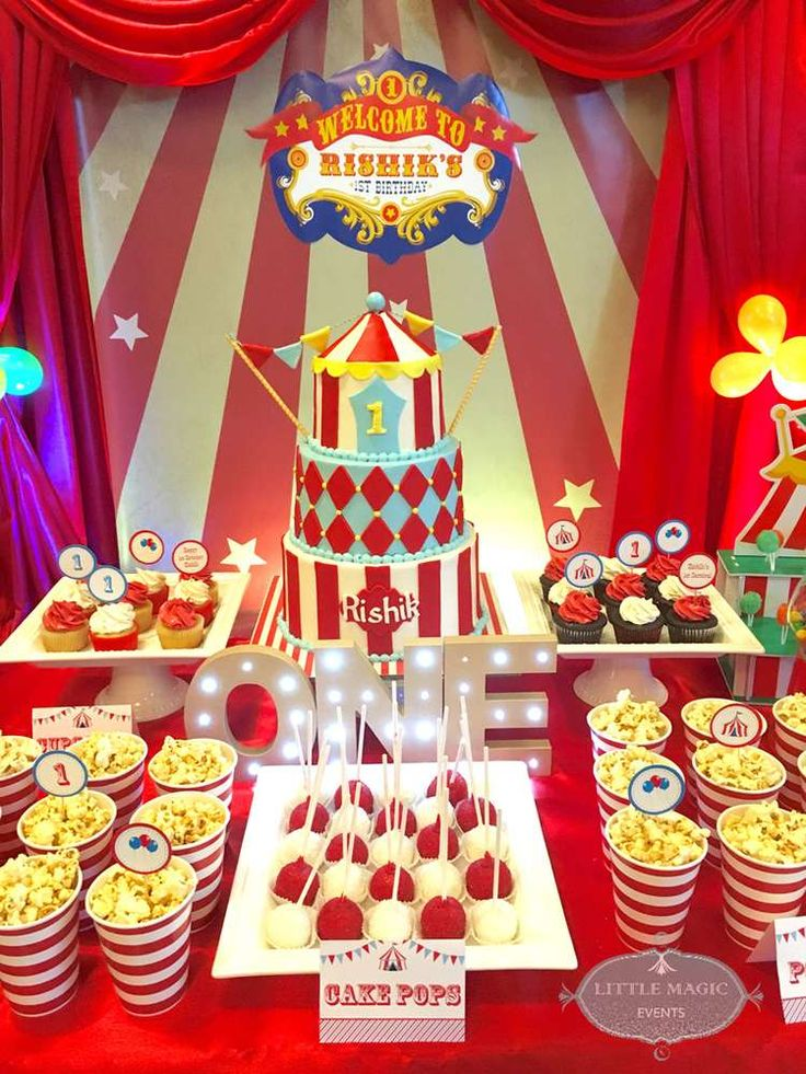 Such a cute Carnival Birthday cake! See more party ideas at CatchMyParty.com