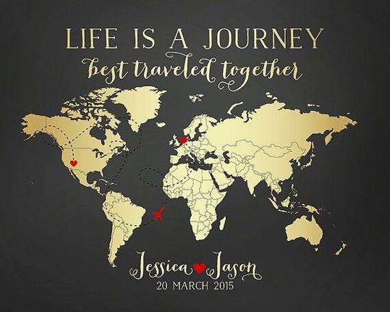 Travel Map, Wedding Gift, Destination, Gold World Map, Custom Art Print Personalized Gifts, Long Distance Relationships, Honeymoon   WF54