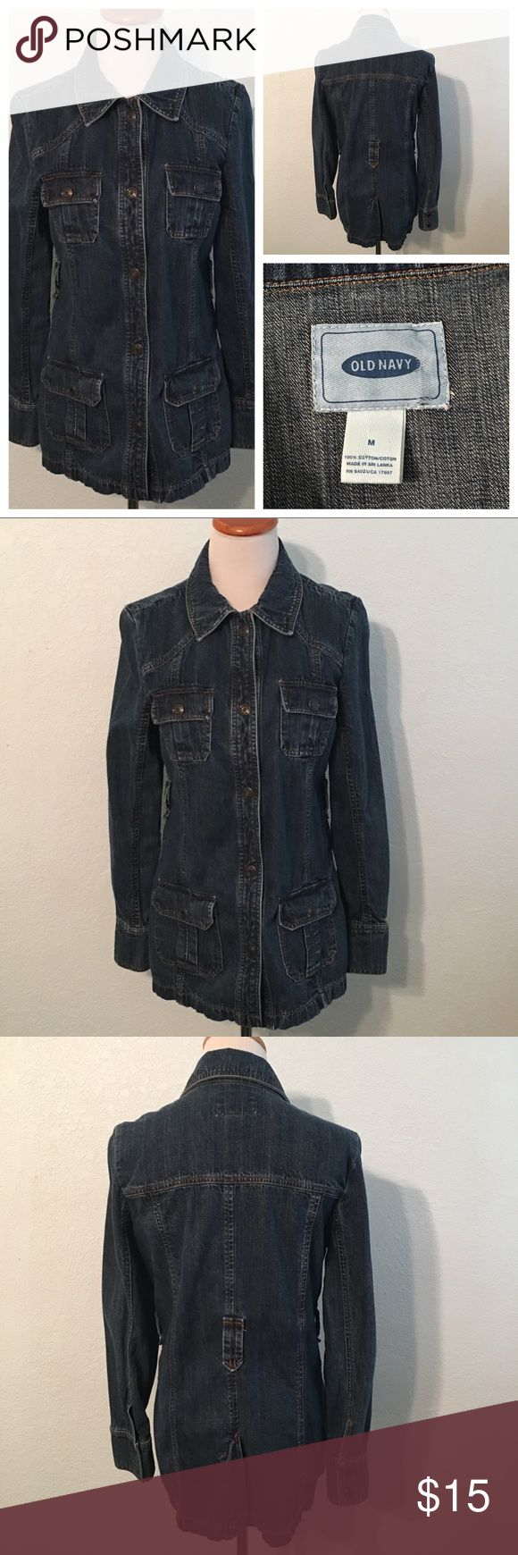 """Old Navy Jean Jacket Size M Item: Snap Front Jean Jacket Label: Old Navy Condition: Pre-owned Size: M Material: 100% Cotton  Measurements: All measurements are approximate and are taken from across the front of the item while laying flat. Underarm to Underarm (Bust): 19"""" Waist: 17"""" Hip: 18"""" Length: 27"""" Sleeve: 24"""" Good to Know:  Gently worn with no rips, tears, holes, or stains. The original belt is missing. Old Navy Jackets & Coats Jean Jackets"""