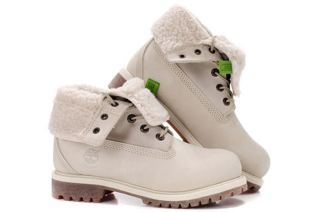 womens timberland roll-top boots gold/white