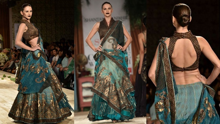 Shantanu and Nikhil @ Delhi Couture Week 2011...amazing teal tones and great volume on the skirt