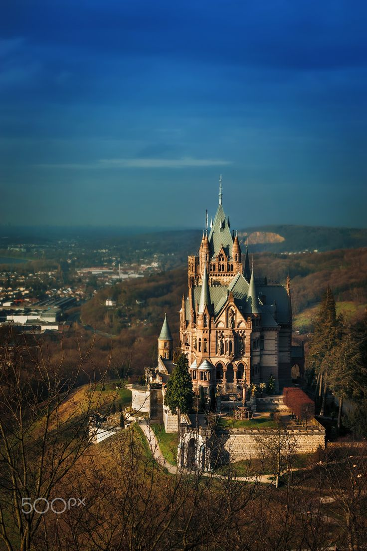 "Drachenfels hill - ""Schloss Drachenburg is a private villa in palace style constructed in the late 19th century. It was completed in only two years (1882–84) on the Drachenfels hill in Königswinter, a German town on the Rhine near the city of Bonn."" (wikipedia)"