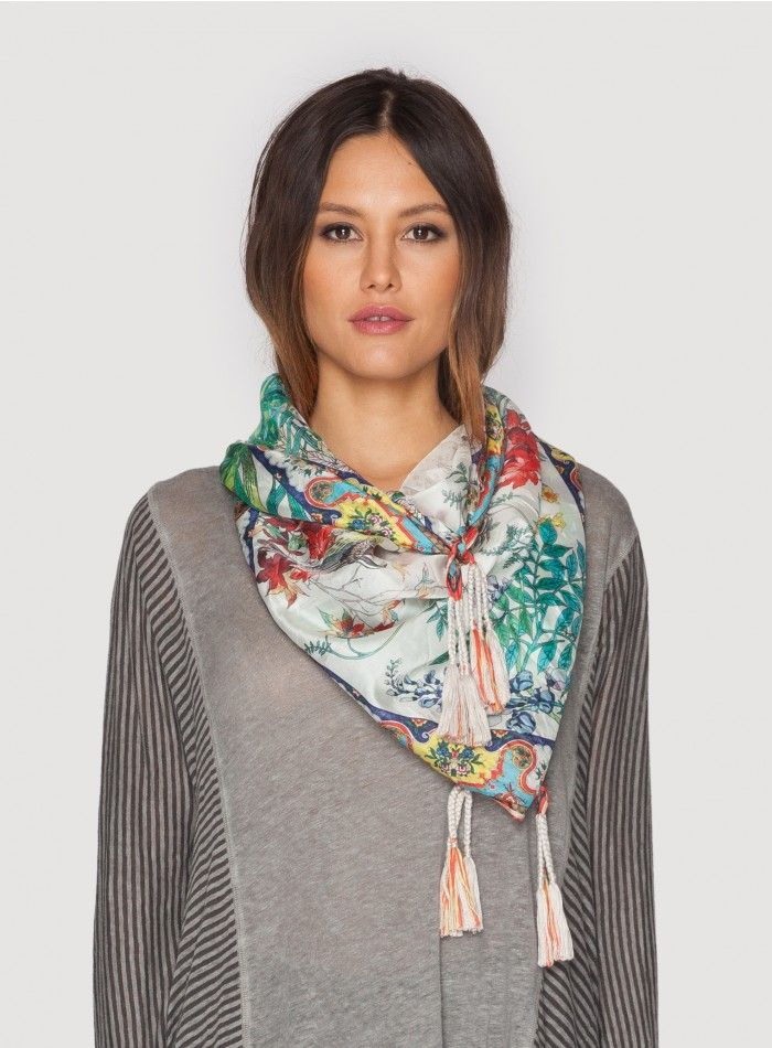 Grey Bird Scarf The Johnny Was Collection Signature Silk GREY BIRD SCARF features a detailed multi-colored botanical print accented by an Art Nouveau-inspired geometric border. Try this printed silk scarf draped, knotted, or wrapped to add a boho luxe touch to any outfit!  - 100% Silk - Measures 43