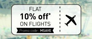 Domestic Flights Offer Flat 10% off* on flights