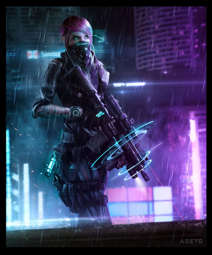 CYBERPUNK PMC (Shadowrun Decker Girl), Phelan A. Davion on ArtStation at https://www.artstation.com/artwork/QGw5E