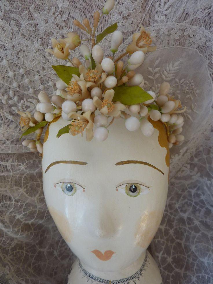 Delicious antique French bride's orange blossom wax wedding crown : tiara