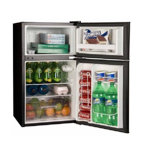 Haier 2 Door 3 2 Cu Ft 2 Door Refrigerator Black Glass Shelves Separate Freezer Haier Compact Refrigerator Two Door Refrigerator Compact Fridge