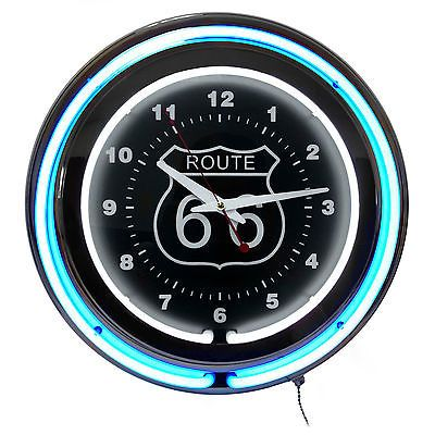 Neon Wall Clock Route 66 Circular Blue Black with  Pull Chain