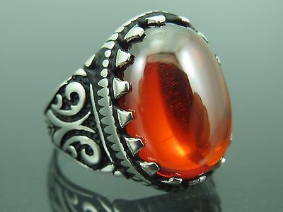 Turkish Handmade Ottoman Style 925 Sterling Silver Ruby Stone Men's Ring …