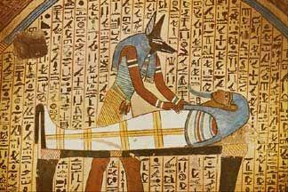 Anubis finishing mummifications, Tomb of Amennakht