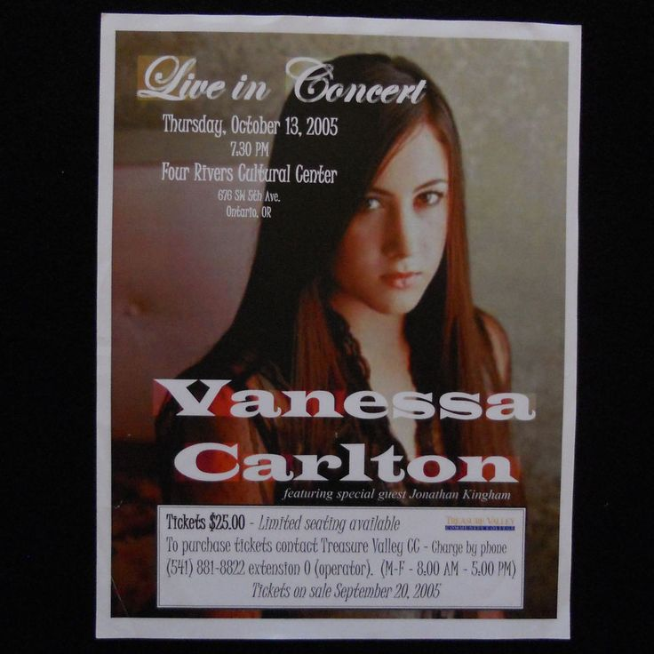 Vanessa Carlton Concert Flyer Poster Four Rivers Cultural Center Ontario Oregon #Nessaholics #VanessaCarlton