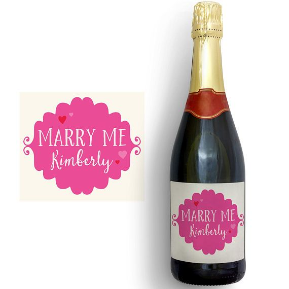 Personalised Champagne label printable wine label marry me
