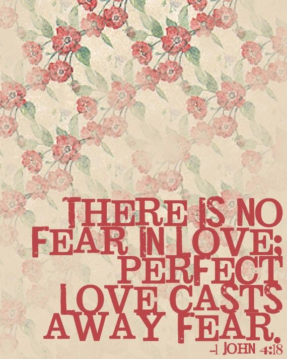 There is no fear in love, but perfect love casts out fear. For fear has to do with punishment, and whoever fears has not been perfected in love. 1 John 4:18