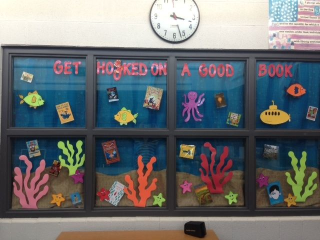 Kindergarten Classroom Decoration Pictures ~ Sea life get hooked on a good book library ideas