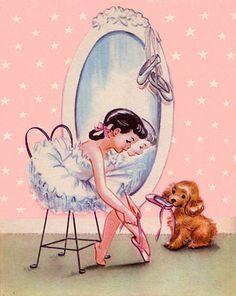 Vintage Little Girl Ballerina The best vintage book illustrations lovingly curated at vintagebookillustrations.com