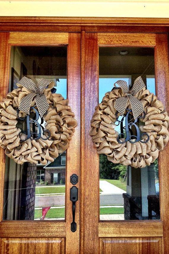 ON SALE - Custom Natural Burlap Vine Interlocking Monogram Wreaths With Chevron Or Polkadot Burlap Bows - Fall, Rustic, Shabby Chic on Etsy, $120.00