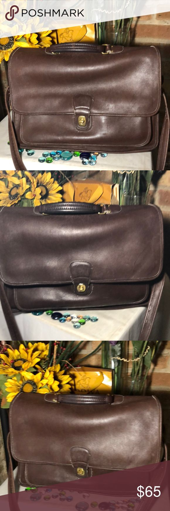 Coach Briefcase Authentic Coach- 12x16- genuine leather- good condition- Very roomy fir tablets & documents- dark brown. Coach Bags Laptop Bags