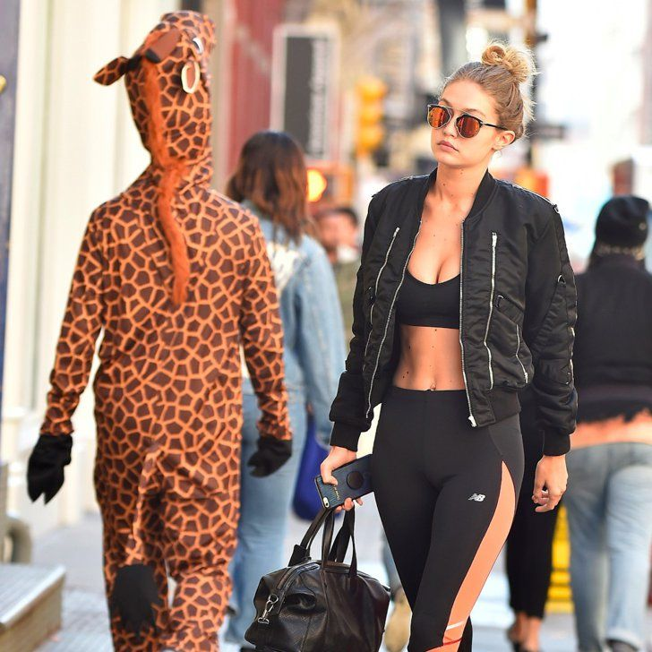Gigi Hadid's Abs Get Casually Upstaged by Someone in a Giant Giraffe Costume