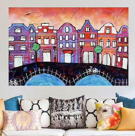 Schilderij steden, utrecht, haarlem, rotterdam, amsterdam, grachtenpanden, schilderij stad van kunstenares Esther Gemser
