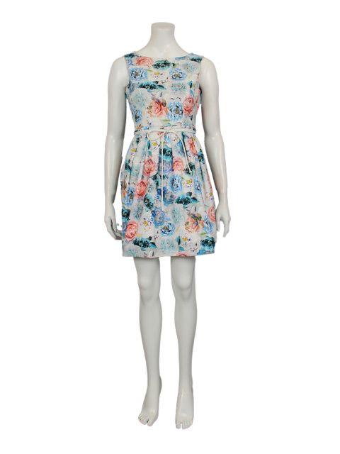 blauwe jurk met bloemenprint - Korte jurken - BoBo Tremelo