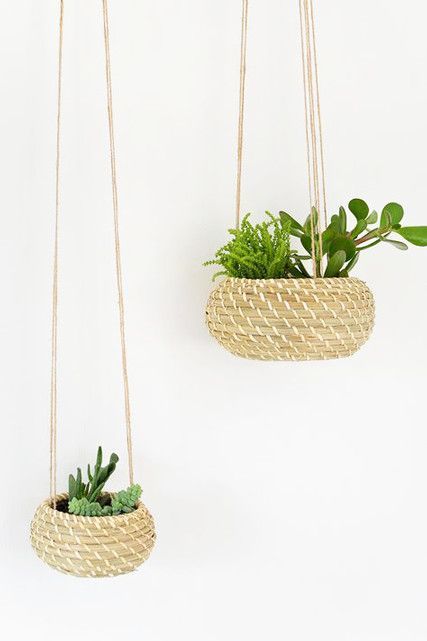 IKEA hack alert! Just adding jute string and a pot liner to a petite IKEA basket can transform it into a sweet planter.