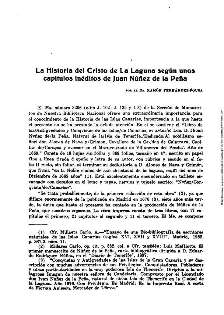 La historia del Cristo de La Laguna según unos capítulos inéditos de Juan Núñez de la Peña / Ramón Fernández Pousa. Revista de Historia, ISSN 0213-9464, Nº. 65, 1944, págs. 51-62