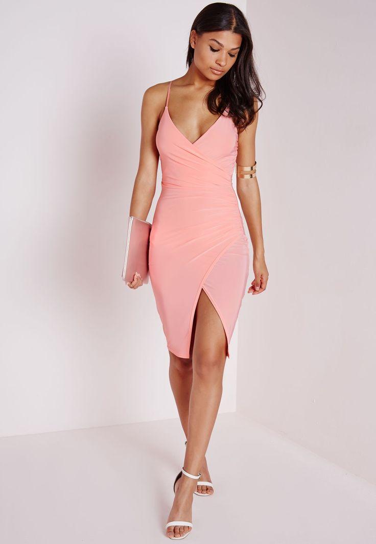 Slinky Strappy Asymmetric Bodycon Dress Blush Dresses