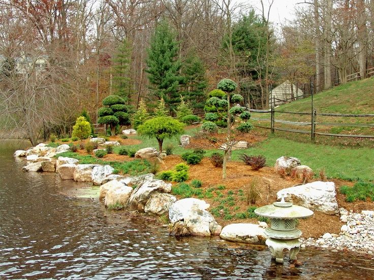 123 best images about lakeside landscapes on pinterest for Lake home landscape design