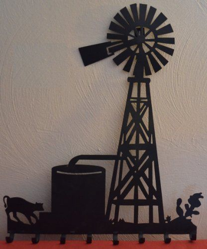 Farm Windmill Key Holder with 8 Hangers Approximate Size Is 18 X 15 1/2 Inches Metal Powder Coated Flat Black Silhouette Home Wall Decor for Your Country Western House or Cabin Keyhole Hanger Mounted to Back for Easy Hanging AMISH WARES,http://www.amazon.com/dp/B00J1O5QU0/ref=cm_sw_r_pi_dp_lLwHtb09646WQFZ4