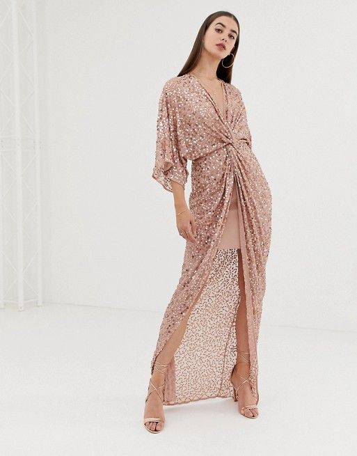 e438fc580 ASOS DESIGN Tall scatter sequin knot front kimono maxi dress  #worldofstylishwoman