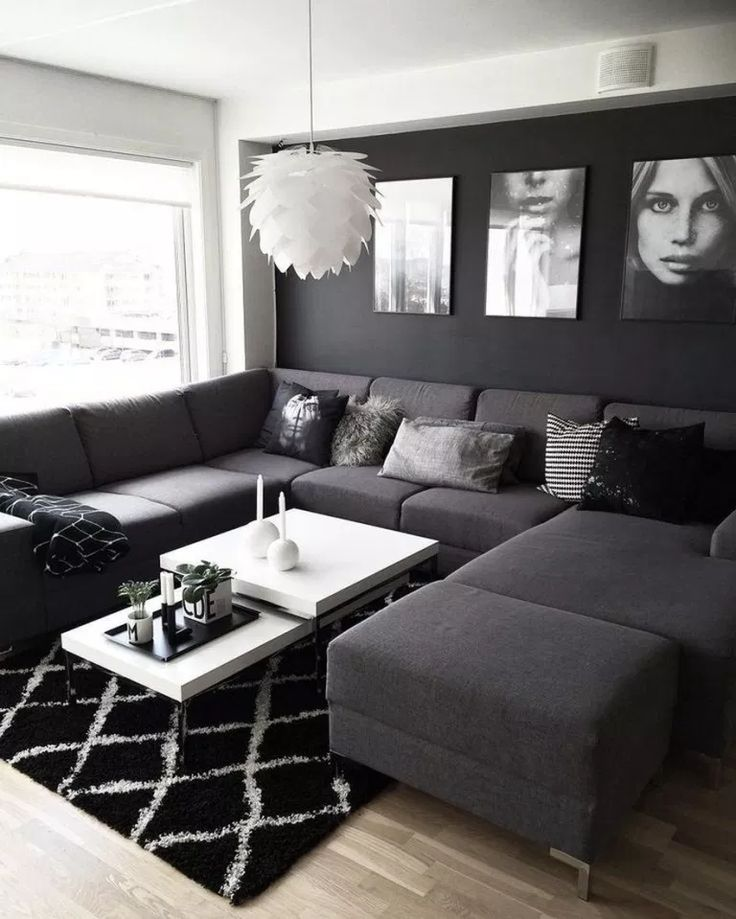✔55 black living room decor with minimalist design 18