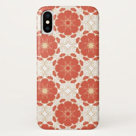 Red And Gold Floral Lace Pattern iPhone X Case - click to get yours right now!