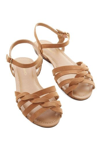 Come Out and Plait Sandal in Caramel by Bass - Low, Leather, Tan, Solid, Braided, Casual, Daytime Party, Boho, Rustic, Better, Strappy, Vari...