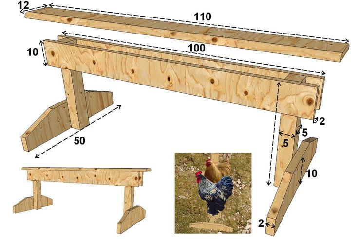 Plan d'un perchoir mobile pour grosses poules